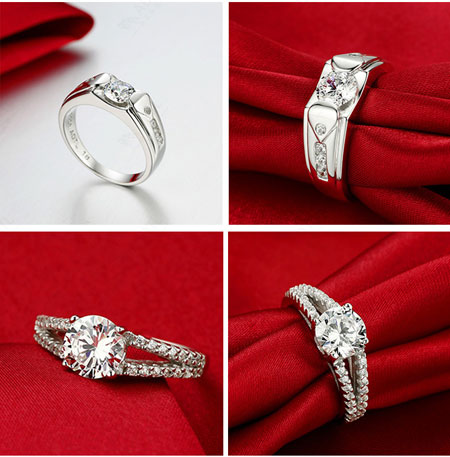 Matching Cubic Zirconia Wedding Engagement Rings for Couples