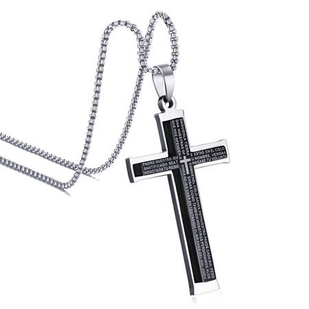 Titanium stainless steel cross pendant necklaces for men mozeypictures Choice Image