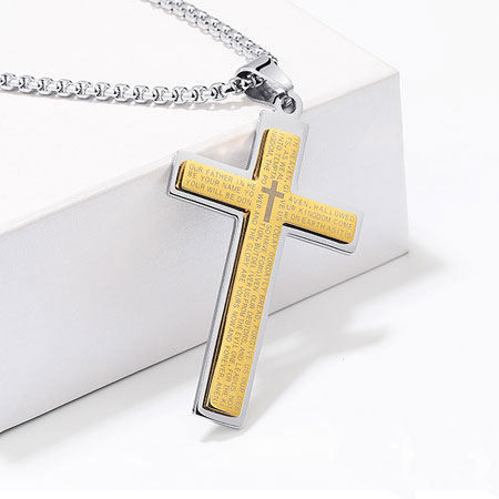 Titanium Stainless Steel Cross Pendant Necklaces for Men