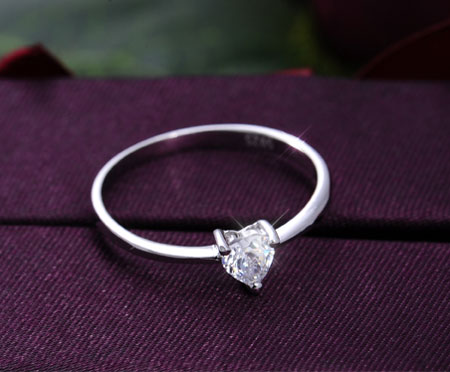 CZ Diamond Heart Script Name Customized Promise Rings