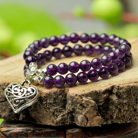 Double Strand Natural Amethyst Beaded Charm Bracelets for Women - Click Image to Close