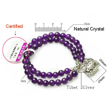 Double Strand Natural Amethyst Beaded Charm Bracelets for Women