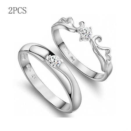 Adjustable S925 Silver Angel Wings Promise Rings for Couples