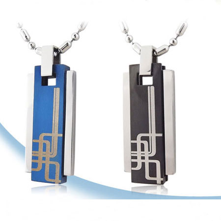 Personalized Engraved Black and Blue fashion Necklaces for Men