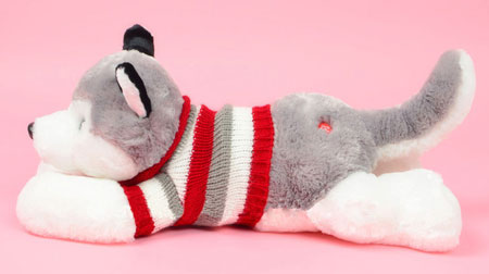 Large White & Grey Plush Puppy Stuffed Animals Husky Dogs