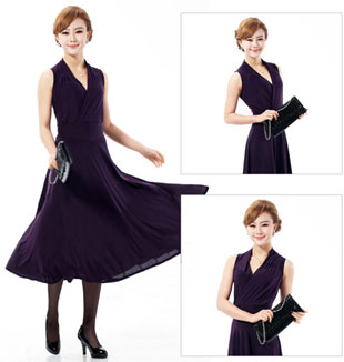 Purple Long Semi Formal Modest Dresses with Sleeves