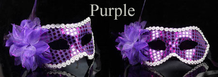 Purple Feather Masquerade Prom Masks for Women