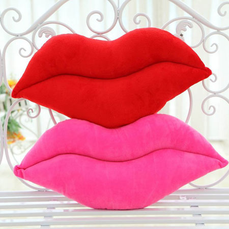 Red and Pink Lips Pillow Decorative Cushions for Lovers