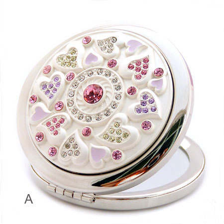 Engravable Beautiful Rose Small Portable Pocket Cosmetic Mirrors