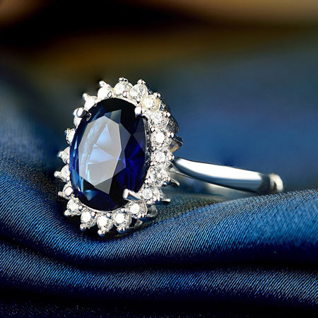 Dark Blue Natural Sapphire Silver Engagement Rings for Women