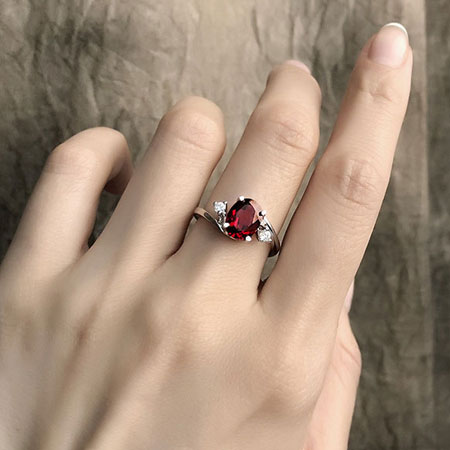 Elegant Cheap Sterling Silver Ruby Engagement Rings for Women