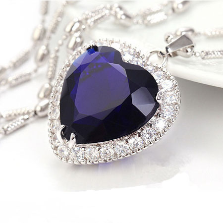 Heart of Ocean Sapphire Birthstone Pendant Necklace - Click Image to Close