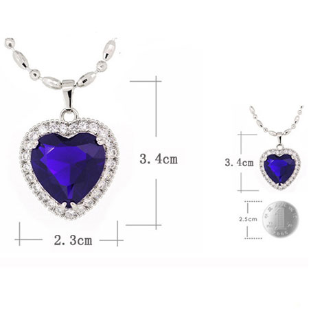 Heart of Ocean Sapphire Birthstone Pendant Necklace