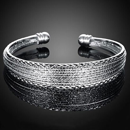 Fashionable Women's Silver Open Bangle Adjustable Cuff Bracelets