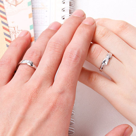 Love Engraved Sterling Silver Promise Rings for Couples