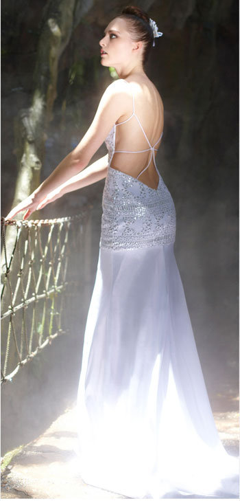Brilliant White Spaghetti Backless Mermaid Long Occasion Dress