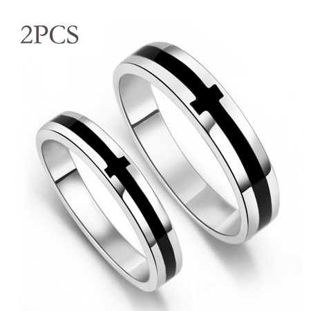 Black Onyx Cross Sterling Silver Purity Rings for Guys & Girls
