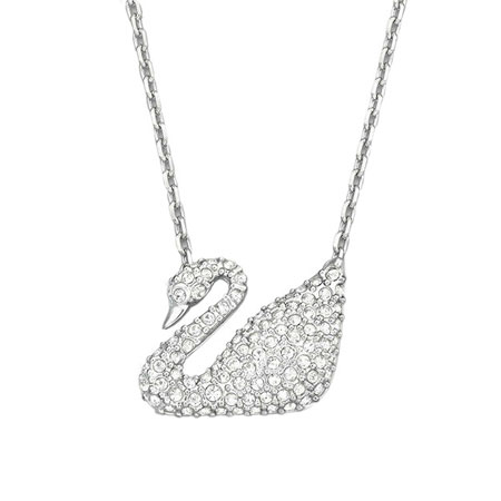 Dazzling Silver Swarovski Swan Pendant Necklace - Click Image to Close