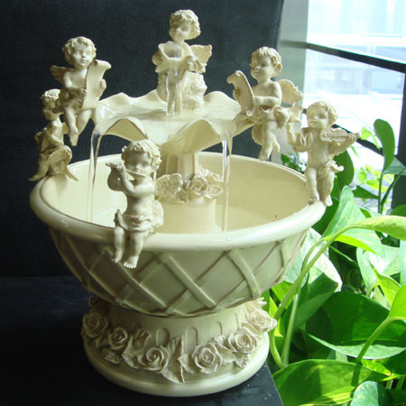 Indoor Tabletop Water Fountains with Cupid Angel Figurines