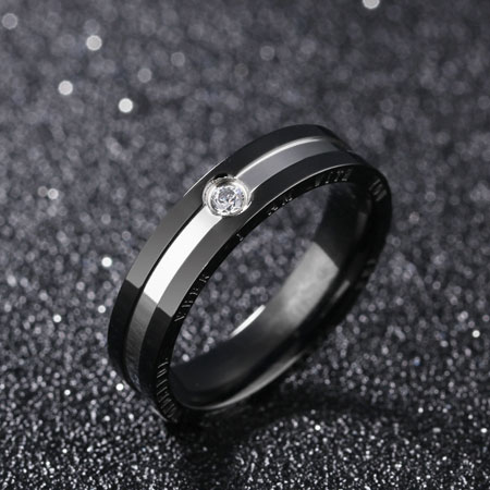 CZ Titanium Stainless Steel Wedding Rings for Couples