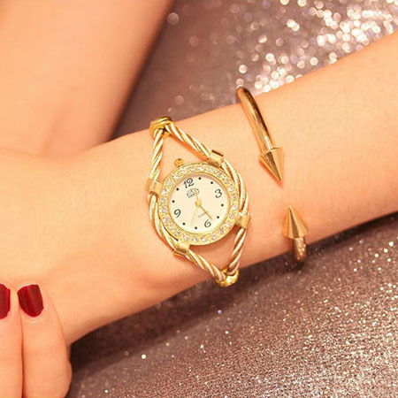 Unique Two Tone Cable Bracelet Cuff Watches for Fashion Girls