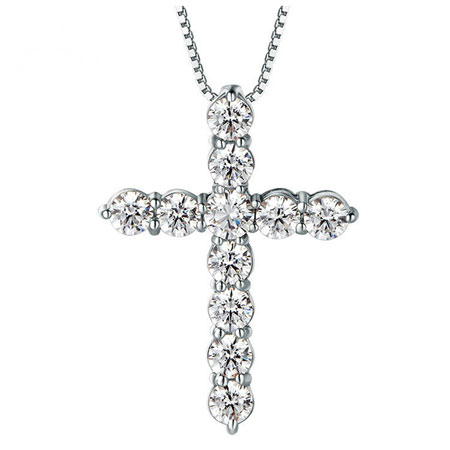 Unique Bamboo Inspired Sterling Silver Cross Necklace for Women