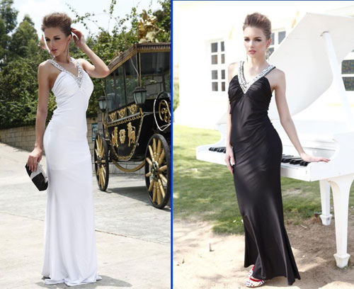 Long Black Occasion Dresses-White Fitted Dress