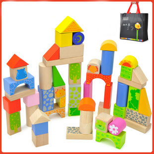 Animal Colorful Building Bricks 50 PCS Wooden Blocks for Kids