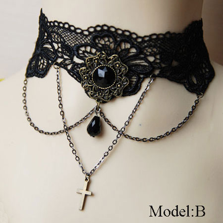 Victorian Style Gothic Black Lace Choker Necklace