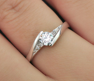 Couples Sterling Silver Cubic Zircon Engraved Promise Rings