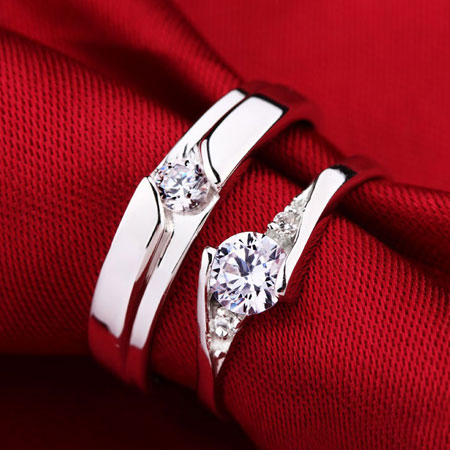 Couples Sterling Silver Cubic Zircon Engraved Promise Rings - Click Image to Close