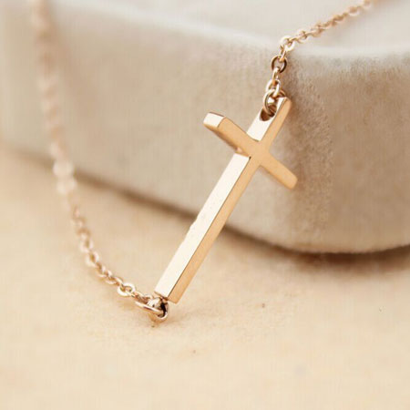 14K Rose Gold Titanium Small Sideways Cross Necklace for Women - Click Image to Close