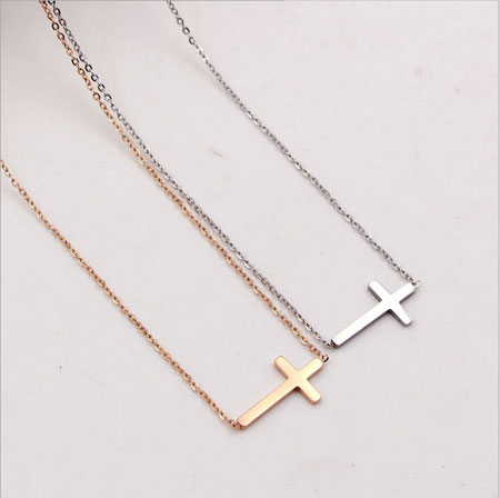 14K Rose Gold Titanium Small Sideways Cross Necklace for Women