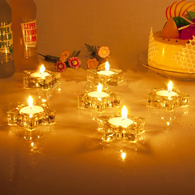 Christmas Star Tealight Holder - Crystal Glass Candle Holders